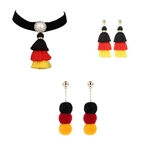 '4U' Choker Necklace Jewellery Set Choker Necklace and 2 Earrings Sets