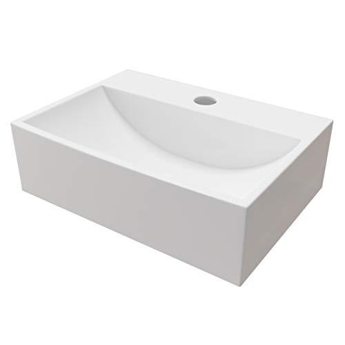 KERABAD Design Keramik Waschbecken 36x26x11cm Waschtisch Waschschale Aufsatzwaschbecken Aufsatzwaschtisch Gäste WC Becken klein eckig KBW301