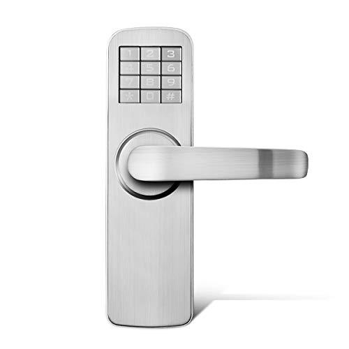 Manhaoya デジタルドアロック ドアロック 暗証番号式 スマートロック パスワードドアロック スペアキー付き 鍵 カギ 解錠 自動施錠 オートロック 電子 電池 防犯グッズ(右ハンドル)