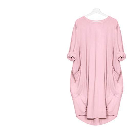 SFYZY Frauen Einfarbig Rundhalsausschnitt Langarm Kurzes Oberteil Lässig Lose Tasche Langarm T-Shirt Übergroßes Kleid Plus Size Shirt Kurzer Pullover