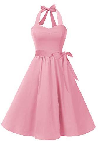 Topdress Women'sVintage Polka Audrey Dress 1950s Halter Retro Cocktail Dress Blush Pink S New