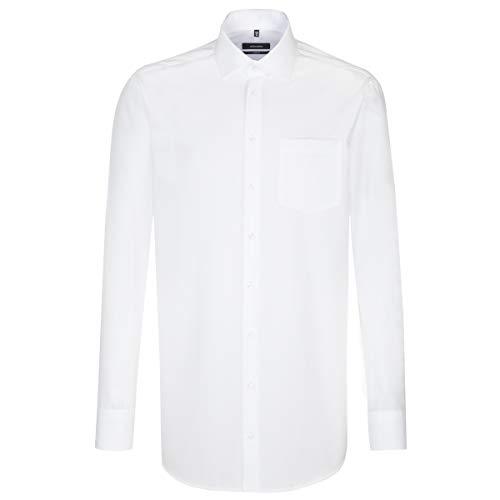 Seidensticker Herren Langarm Hemd Comfort Uni Popeline Business Kent Unifarben 395680 (Weiß, Kragenweite: 49 cm)