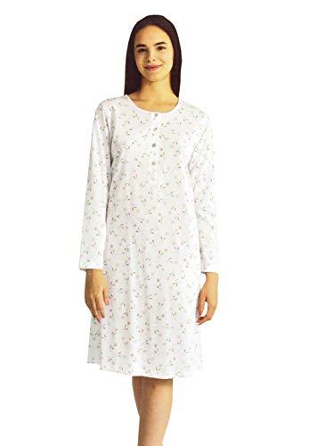 camicia donna 56 Camicia da Notte Donna Cotone Manica Lunga Leggera A977 Made in Italy Bianco/Azzurro Anche Calibrata (56 Cal IT Donna)