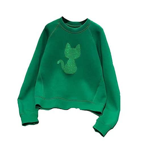 Tbylf Jersey de manga larga para mujer, diseño de gato con lentejuelas, verde, XXL