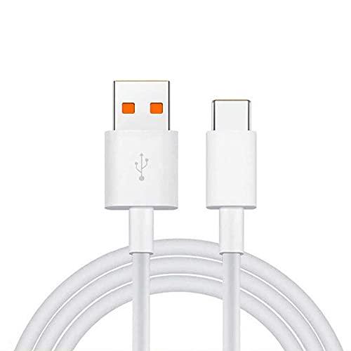 Cable USB-C Compatible Turbo Charge 5A/45W para Xiaomi Mi 10, Mi 11, Redmi Note 9, Note 10, Poco X3- Blanco - Bulk