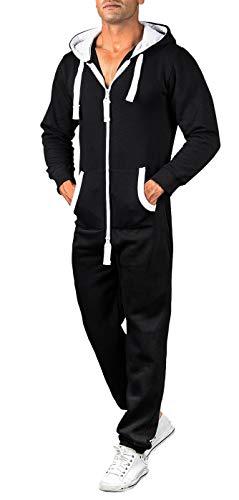 A. Salvarini Herren Jumpsuit Overall Jogging Anzug Trainingsanzug Jogger Sportanzug AS-039 [AS-039-Schwarz-Gr.L]