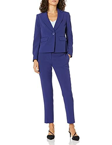 Le Suit Women's 1 Button Notch Collar Stretch Crepe Slim Pant Suit, Royal Navy, 16