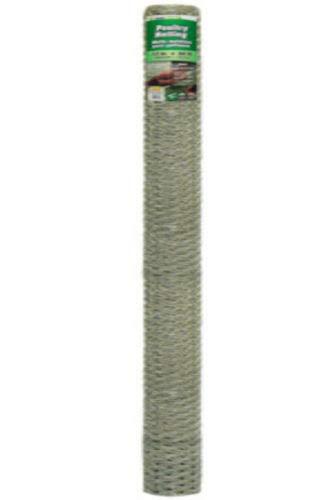 YARDGARD 308447B Galvanized Poultry Netting, 20-Gauge, 1' Mesh, 72' x 50'
