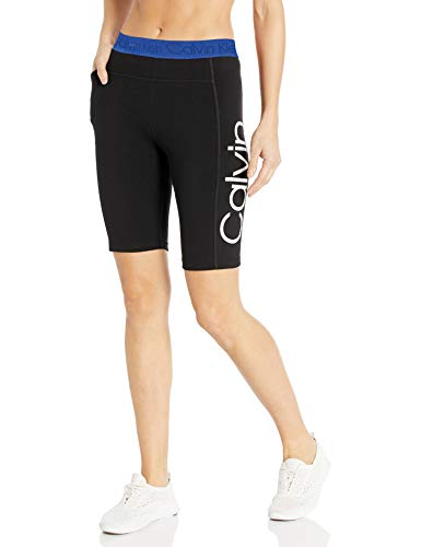 Calvin Klein Damen Logo Jacquard High Waist Bike Yoga-Shorts, Große, Blaue Kombination, X