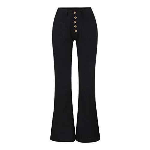 Jeanshosen Damen Slim,ITISME Frauen-Stickerei Destoryed Aufflackern-Jeans-Knopf-Taillen-Bell-Bottom-Denim-Hosen Stilvolle PersöNlichkeit Damen Hosen Denim Coolen Alltagskleid