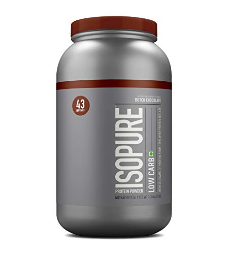 Isopure Low Carb, Keto Friendly Protein Powder, 100% Whey Protein Isolate, Flavor: Dutch Chocolate, 3 Pounds (Packaging May Vary)