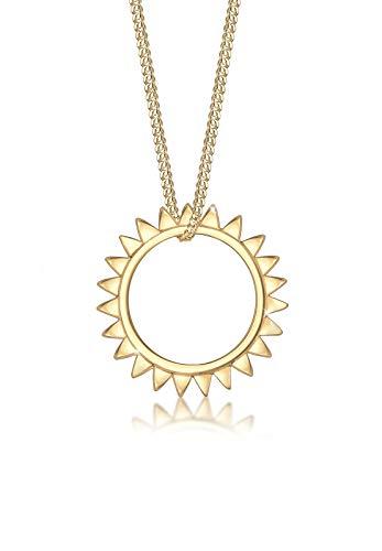 Elli Halskette Damen Sonne Sommer Astro in 925 Sterling Silber vergoldet