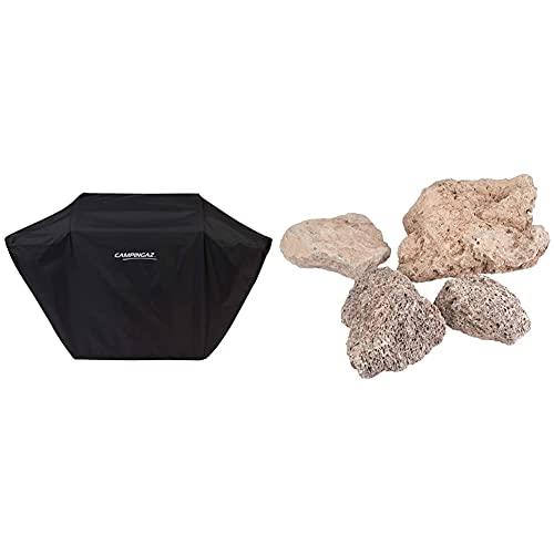 Campingaz BBQ Accy Cover Funda para Barbacoa L, Resistente Al Agua Y A La Intemperie, Cordón De Fijación 3 Series Classic Grills + 205637 - Piedras Lava, 3 Kg
