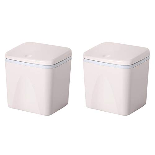 Contenedores de plástico para encimera y escritorio 3L, Contenedor pequeño para dormitorio y baño, Contenedor de mesa mini para hogar y cocina, Juego de 2-white