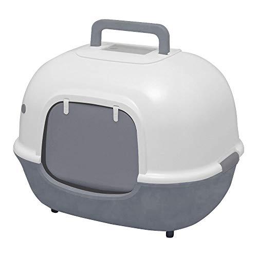 Iris Ohyama, Toilette per Gatti con Apertura Frontale e Pala - Hooded Cat Litter Box - WNT-510, plastica, Grigio, 51 x 40 x 39 cm