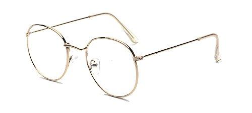 ALWAYSUV Modische Runde Gold Rahmen Brillenfassung Klare Linse Brille Nerdbrille