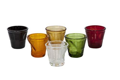 Kaleidos - Set 6 Bicchierini liquore caffè in Vetro accartocciato Assorted Colours (21904)