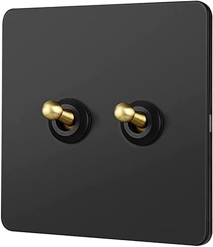 Foicags Interruptor negro Retro Rayado Toggle Light Switch Mejora 86 Tipo Inicio Interruptor de alternador Interruptor de panel de acero inoxidable 1-4 GANG 2 WAY SOLO DOBLE DE CONTROL DE LA LUBITA DE