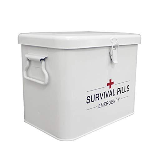 Medicine opbergdoos Afsluitbaar, Metalen First Aid Box met zijgrepen, Top Verwijderbare lade Sleuteldoos voor pillen, Voorschrijven Geneesmiddelen Kinderen Opbergdoos - Wit