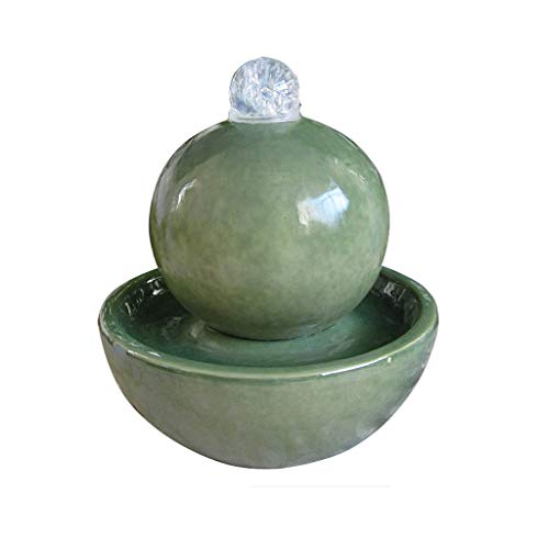 TangMengYun Ceramic Indoor Water Fountain Craft Ornaments Spherical Humidifier Living Room Decoration Home Desktop Fountain 2527cm (Color : Green)