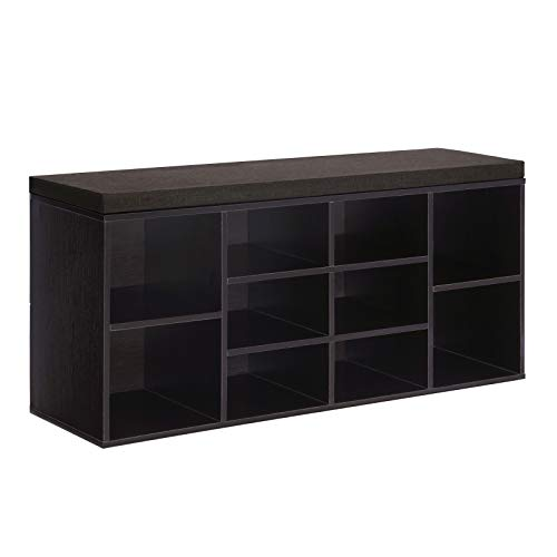 VASAGLE Cubbie Shoe Cabinet Storage Bench with Cushion,...