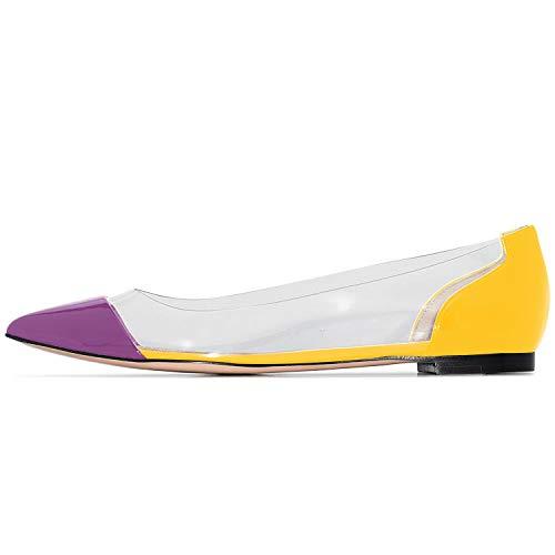 IMOSHINE Women's Purple Yellow Slip On Patent Pointed Toe 0.5 Inch Chooka Ballet Flats Flat Shoe Strings Size 6.5