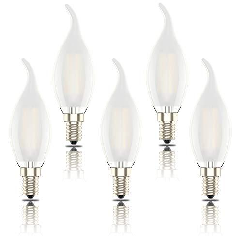 Bombillas Led E14 Luz Calida, Bombillas Vela 4W(equivalente a 40W), 400 Lúmenes, 2700K, Pack de 5