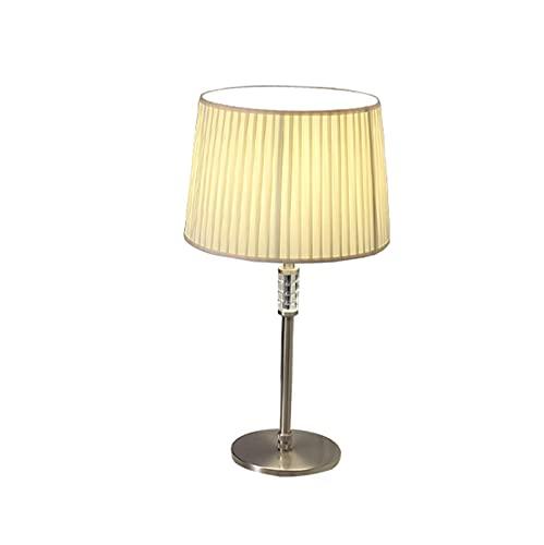 OMIDM Lámpara de Mesa Lámparas de Cama de Cristal de Cristal de Hierro con lámparas de Tela Lámparas de Mesa Modernas para Sala de Estar y luz Nocturna de Oficina, 20.8'H Lámpara Mesa de Cristal