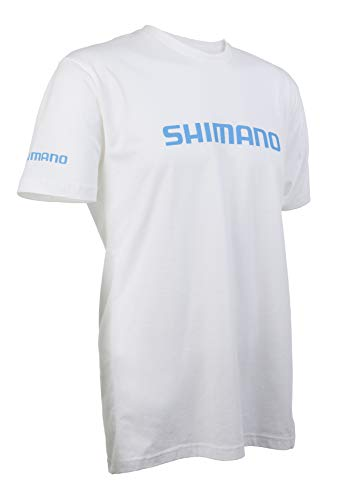 SHIMANO Short Sleeve Cotton Tee Fishing Gear, White, XX-Large