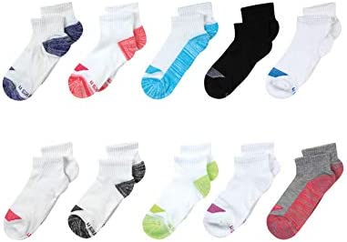 Hanes Girls Cool Comfort Ankle Socks 10 Pack Assorted Small Shoe Size 6 10 5 product image