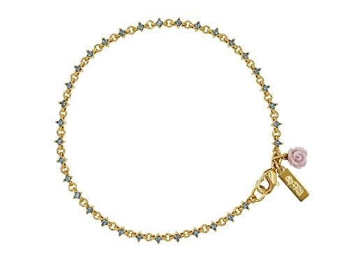 Mossimo, Pulsera con Flor Y Micro Cristales y con Baño de Oro 22 Kilates.-Joyería de Mujer