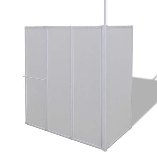 Duschwand Duschabtrennung L-Form 70 x 120 x 140 cm 4 Faltwände aufklappbar mit Handtuchhalter