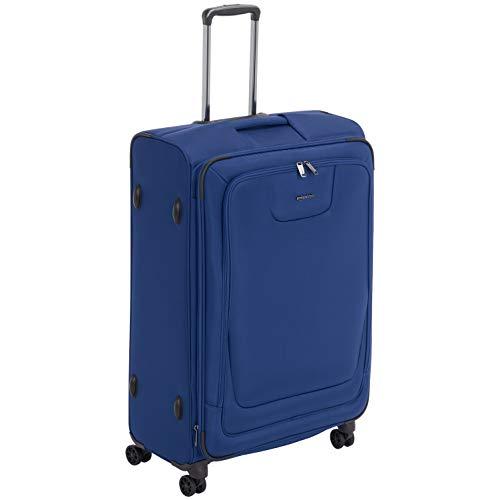 Amazon Basics, Premium, valigia espandibile, morbida, con rotelle multidirezionali e chiusura TSA, 82 cm, Blu
