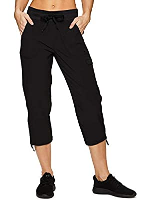 RBX Active Women's Lightweight Body Cargo Drawstring Woven Pant Black L