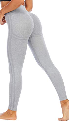 RUNNING GIRL Butt Lifting Leggings for Woman,High Waisted Seamless Yoga Compression Pants Tummy Control Gym Workout Tights(CK2617.Grey.S)