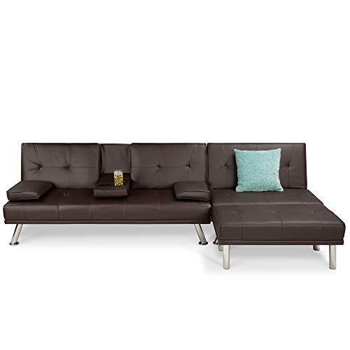 Best Choice Products Faux Leather Upholstery 3-Piece Modular Modern Living Room Sofa Sectional Furniture Set w/Convertible Single & Double Seat Futon Beds, Ottoman, Reclining Backrests - Brown