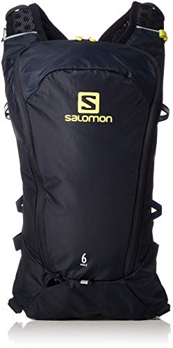 Salomon Mochila ligera de running 6L, agile 6 set, azul (Night Sky) y verde (Sulphur Spring)