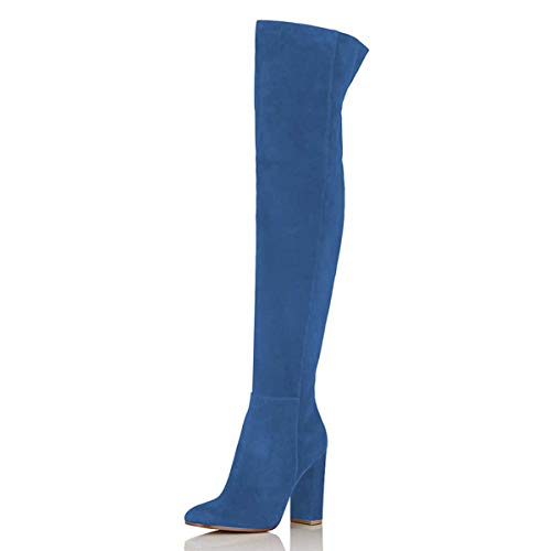 FSJ Women Over The Knee Chunky High Heels Stretch Thigh High Zipper Long Boots Shoes Size 9.5 Blue