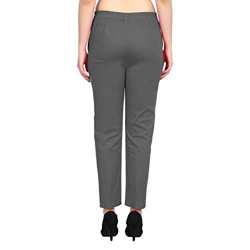 SriSaras Women's Premium Cotton Regular Fit Pants Combo (Black and Grey, Medium)