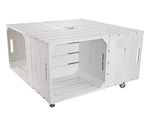 Kontorei 1x witte tafel vierkant van fruitkisten, op wieltjes, ideaal als loungemeubels in de tuin/op het terras, nieuw, 85 x 85 cm