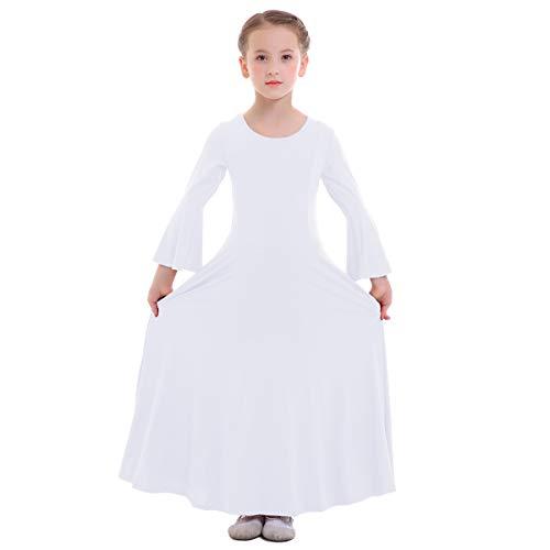FYMNSI Bambina Liturgico Danza Vestito Ragazze Tinta Unita Maniche a Campana Lunga Swing Lungo Maxi Gonna Lirico Culto Costume Tunica Abbigliamento da Ballo Balletto Bianco 5-6 Anni