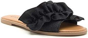 Qupid Womens Denim Sandal Slides