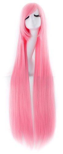 MapofBeauty 40' 100cm Anime Costume Long Straight Cosplay Wig Party Wig (Light Pink)