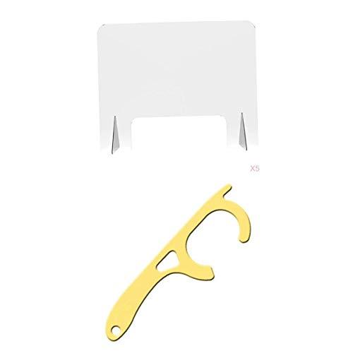 #N/A 5pcs Thekenaufsatz Nieschutz-/ Spuckschutz-/ Hustenschutz-Schild Acryl Schutzschild für Schreibtisch, Kassen, Büro, Restaurant usw. - Typ C