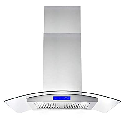 Cosmo 668ICS900 36 in. Island Mount Range Hood with Soft Touch Controls, Permanent Filters, LED Lights, Tempered Glass Visor, in Stainless Steel