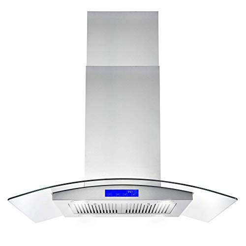 Cosmo 668ICS900 36 in. Ducted Island Range Hood with LED Lighting and Permanent Filters  Stainless Steel
