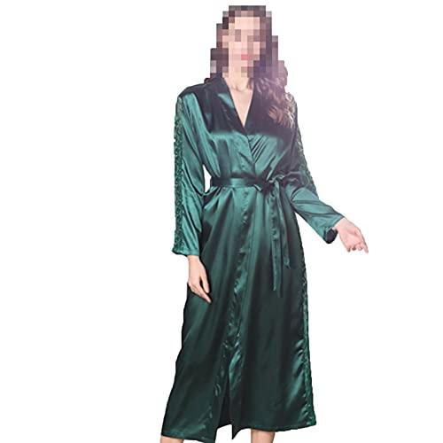 Pijamas de seda de imitación, batas de sueño con cinturón, batas ligeras, para mujer, estilo kimono con ribete de encaje, para bodas, fiestas, novias, damas de honor, ropa de salón, verde, L
