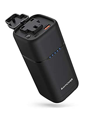 Portable Charger RAVPower 80W PD 3.0 AC Power Bank 20000mAh with 30W USB C AC Outlet Laptop Charger External Battery Pack for MacBook Air iPad Pro iPhone SE Nintendo Switch(USB C Adapter Not Included)