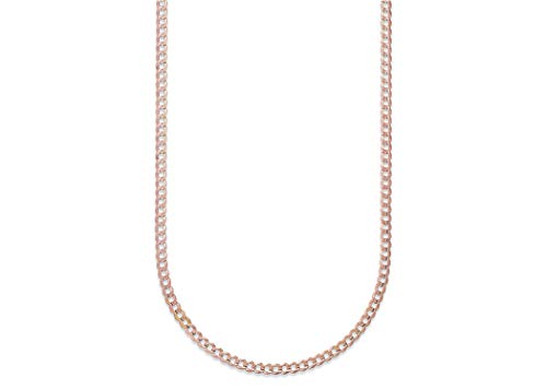 14K Gold 2.5MM, 4MM, 5MM, 6.5MM, 7.5MM, 9MM Cuban/Curb Chain Necklace and Bracelet - Made In Italy - Yellow, White, Rose, Two Tone (22, 3.5MM, Rose)
