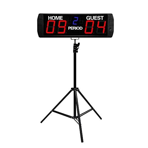 GAN XIN Portable LED Electronic Scoreboard with Tripod, Basketball/Football Game Scoreboard, APP Control & Wireless Remote Control, Indoor Use